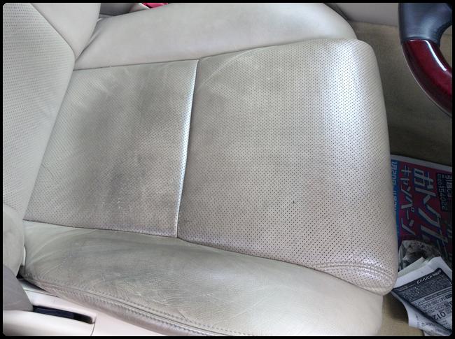 レクサスの革シートの汚れをクリーニング02